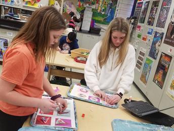 'Torn Paper Kandinsky' projects in Art class