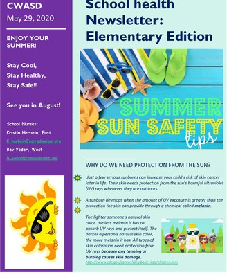 School Health Newsletter: Summer Sun Safety page 1