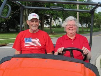 (r to l) Mrs. Karen Blankenship (BOE VP) and former board member Mr. Larry Reiter at CSF's 2019 5K