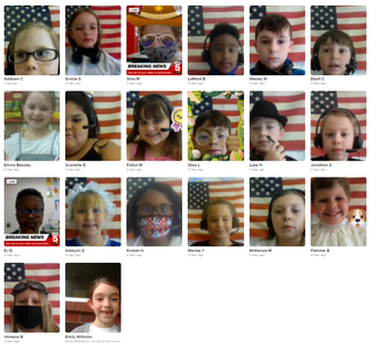 """Photo collage of elementary students on individual webcams dressed as """"Famous Americans"""""""