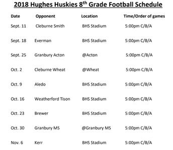 Hughes 8th grade Football Schedule