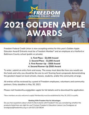 Freedom Federal Credit Union's Golden Apple Educator Award