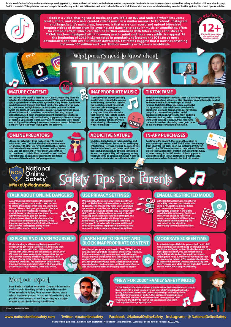 Infographic created by National Online Safety detailing information about the social media app, TikTok