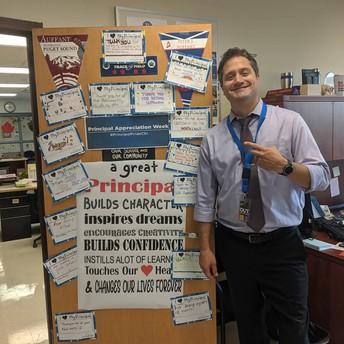 Students left notes of appreciation for Principal Auffant!