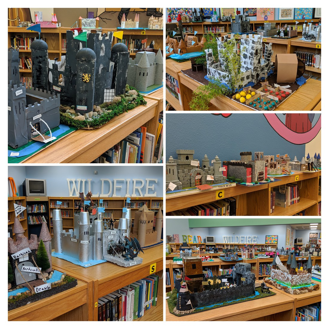 collage of models of castles students built
