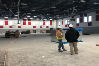 Gymnasium is taking shape with 2 regulation size basketball courts