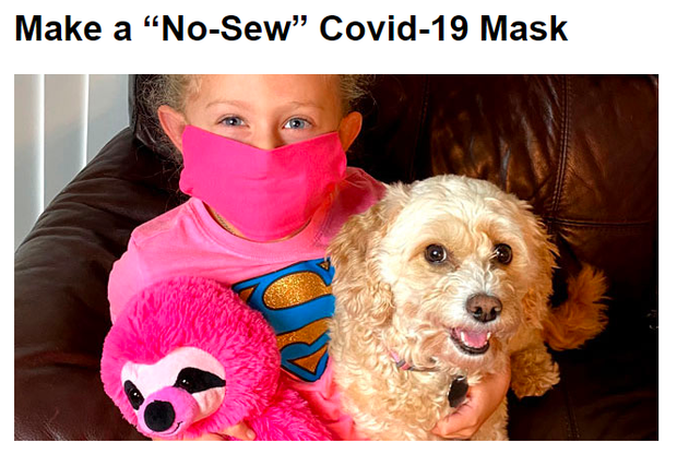 step-by-step directions to make a no-sew mask