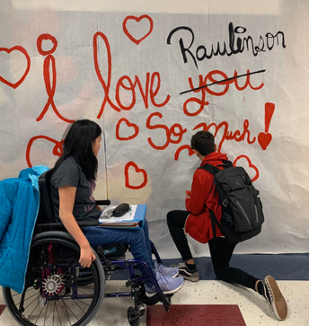 Art students help with Valentine decor!