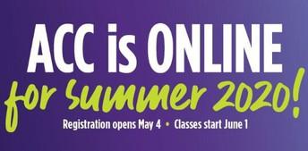 ACC Summer 2020 Online Classes Start June 1st