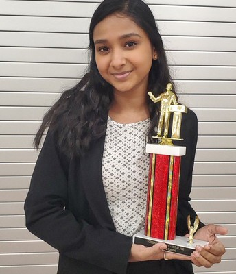 Congrats to Sneha E. for her 1st place finish in Original Oratory at the Dulles Debate Tournament!