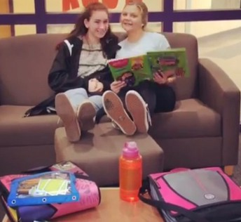 Library friends kicking back and reading together! Makes my heart sing HAPPY, HAPPY, JOY, JOY!