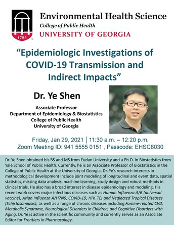 Environmental Health Seminar:   Epidemiologic Investigations of COVID-19 Transmission and Indirect Impacts