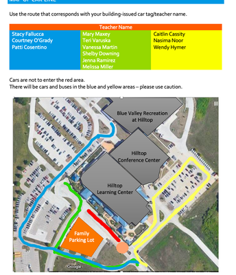 Click the image for the Arrival and Dismissal Procedures