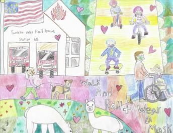 SRTS Art Contest Winning Entry - fire station, kids playing, animals