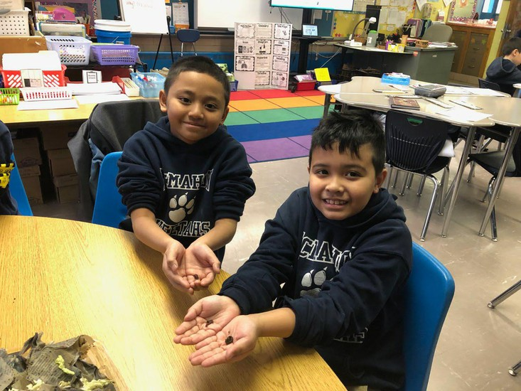 McMahon 3rd-grade students holding their worms