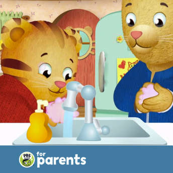 Image of Daniel Tiger washing hands with his child