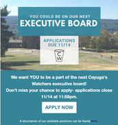 Apply to be a part of the next Cayuga's Watchers Executive Board