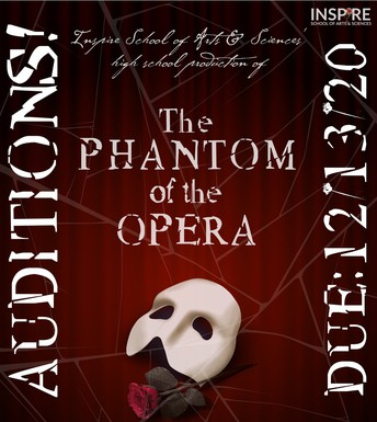 "Phantom of the Opera poster with mask and rose in center and white font that reads ""auditions due 12/13/20"""