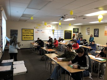 Mrs. Veenstra leads review Friday morning in Algrebra class.