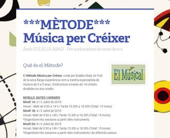 MÈTODE: MÚSICA per CRÈIXER (1A-1B-2A) (15 hores cada nivell)