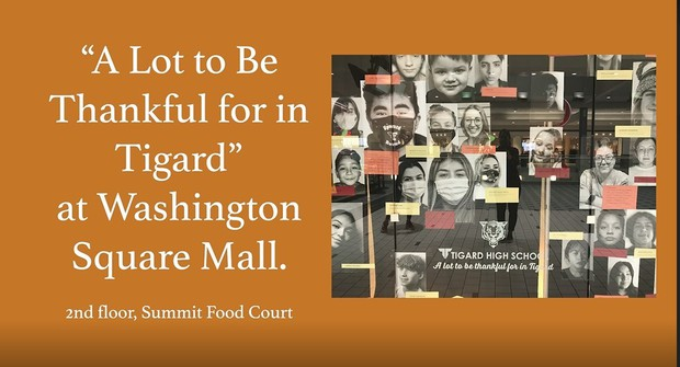"""A lot to Be Thankful for in Tigard"" at Washington Square Mall.2nd floor Food Court. (Messages too small to ready)"