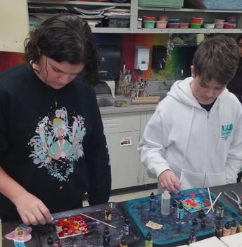 Inked color field tiles in 8th grade Art Studio