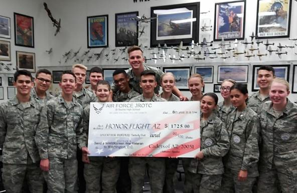 Basha High School cadets with Honor Flight Donation Check
