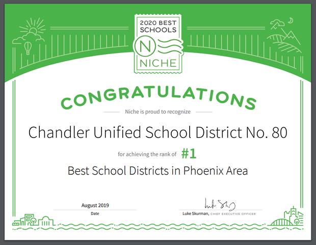 CUSD is the top-ranked school district in the metropolitan Phoenix area