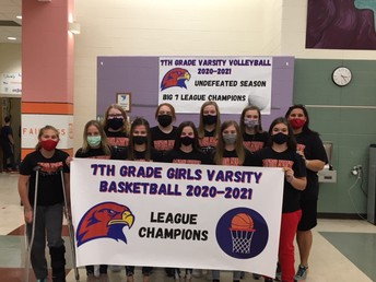 Congratulations to our 7th Grade Girls' Varsity B-Ball Team--League Champions