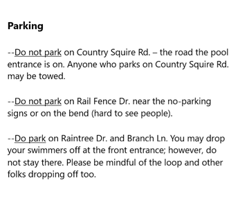 More Parking Info