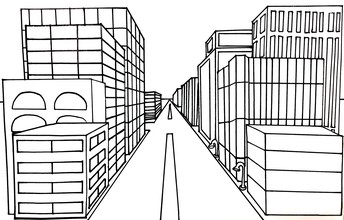 Cityscape in One-point Perspective