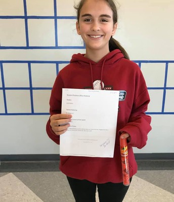 Lyndi received a positive office referral for having a positive attitude and working hard on her science fair project. #lmmsrocks