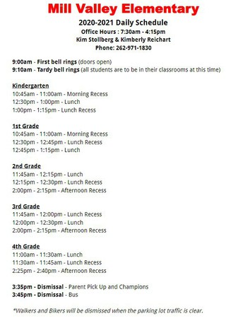 Mill Valley Daily Schedule