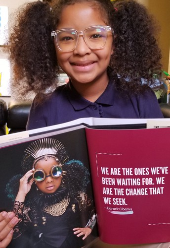 """Rees Elementary School student Genesis Johnson was featured in the New York Times best-selling book """"GLORY: Magical Visions of Black Beauty."""""""