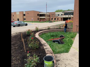 New rose garden in the front of UHS