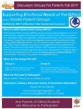 Supporting Emotional Needs of the Gifted  (SENG) Parent Discussion Groups