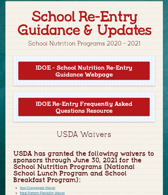 School Re-Entry Guidance and Updates for School Nutrition Programs