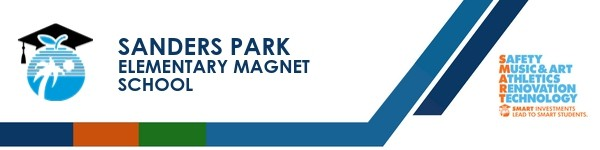 A graphic banner that shows Sanders Park Elementary Magnet School's name and SMART logo
