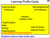 Learning Profile Cards