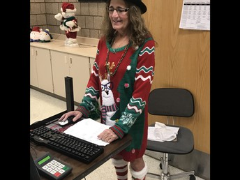 Mrs. Anderson is rocking the Christmas Sweater