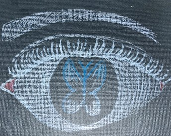 chalk drawing close up human eye with a butterfly in the iris