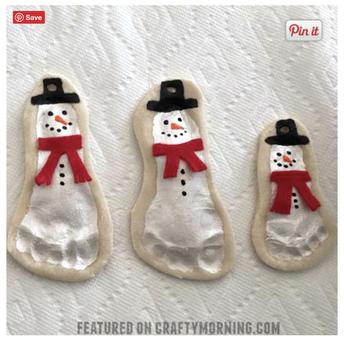 Salt Dough Footprint Snowmen