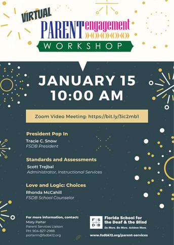 Parent Engagement Workshop Flyer for January