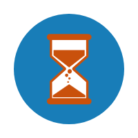 An hourglass Icon.