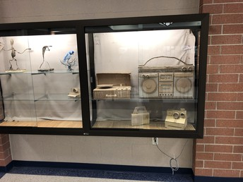 3D Art work on display in the 2nd floor Commons display cases