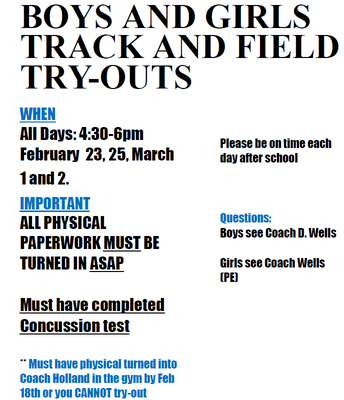 Track & Field Try-outs