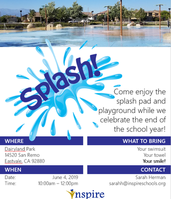 Splash Pad End of School Year Celebration!