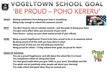SCHOOL GOAL: 'BE PROUD' - POHO KERERU!