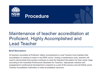 Maintenance of teacher accreditation at Proficient, Highly Accomplished and Lead Teacher