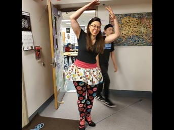 Science teacher Ms. Missler performs a pirouette for dress up days.